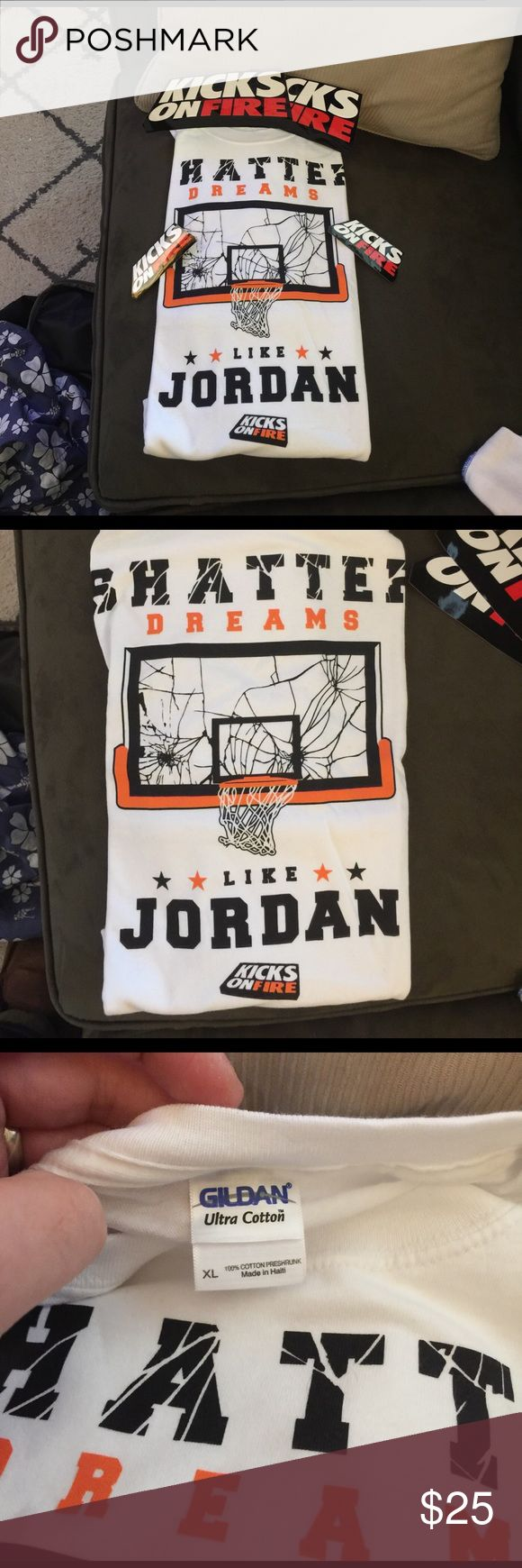🏀🔥Brand New Super Rare Jordan T-Shirt🔥🏀 Couldn't cop the Shattered Backboard 1's? Want a shirt to rock with them? This is the ultimate for both!!! This is a super rare Kicks on Fire T-shirt that was limited release during the Shattered Backboard 1 release. Shirt is brand new and still factory folded. Shirt comes with 2 small, and 2 large KOF stickers. Make an offer!!! Jordan Shirts Tees - Short Sleeve