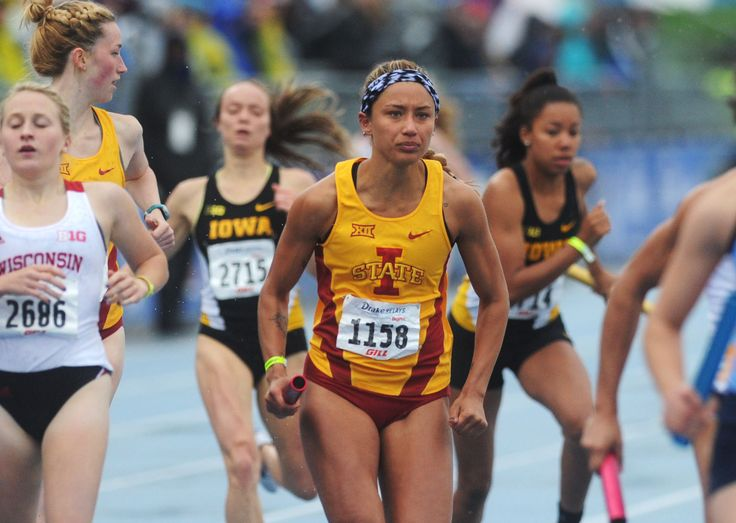 Iowa State's Alyssa Gonzalez starts her leg of the distance medley at the Drake Relays on Saturday in Des Moines. Photo by Nirmalendu Majumdar/Ames Tribune  http://amestrib.com/sports/drake-relays-notebook-isu-s-second-shot