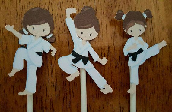 Karate girls cupcake toppers -set of 12, karate cake toppers, karate centerpiece