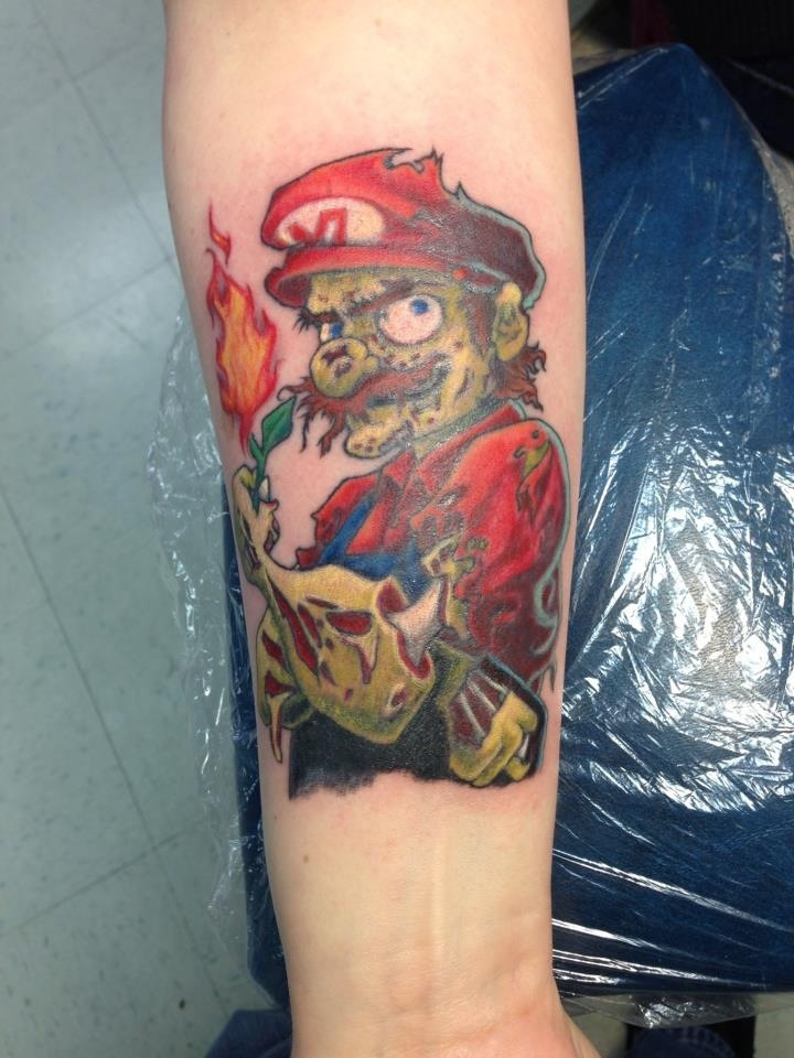 Zombie Mario by Pike Tattoo Charlie's Preston Hwy