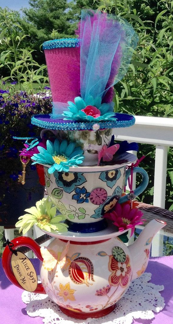 "Mad Hatter Whimsical Stacked Teapot & Teacup Centerpiece #4 (16"" high) - Alice in Wonderland"