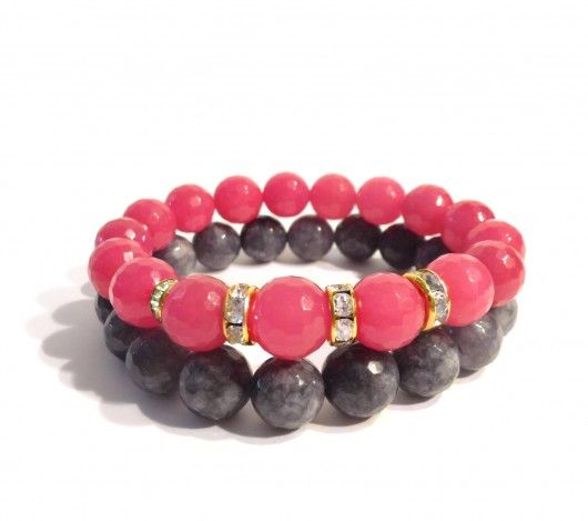 Handmade Bracelet - raspberry pink faceted and grey jade beads.  Find us on: www.labonita.co order: labonita.bizu@gmail.com