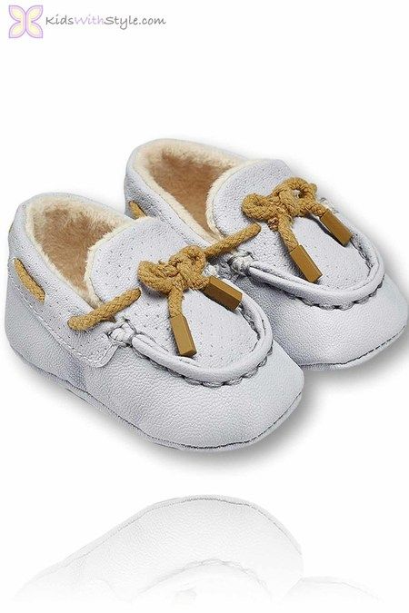 Your baby boy will start his love for style young in these precious moccasin prams. These shoes are loaded with stylish details that make them stand above the typical pram. Shop all of your favorite baby accessories and fashion at kidswithstyle.com