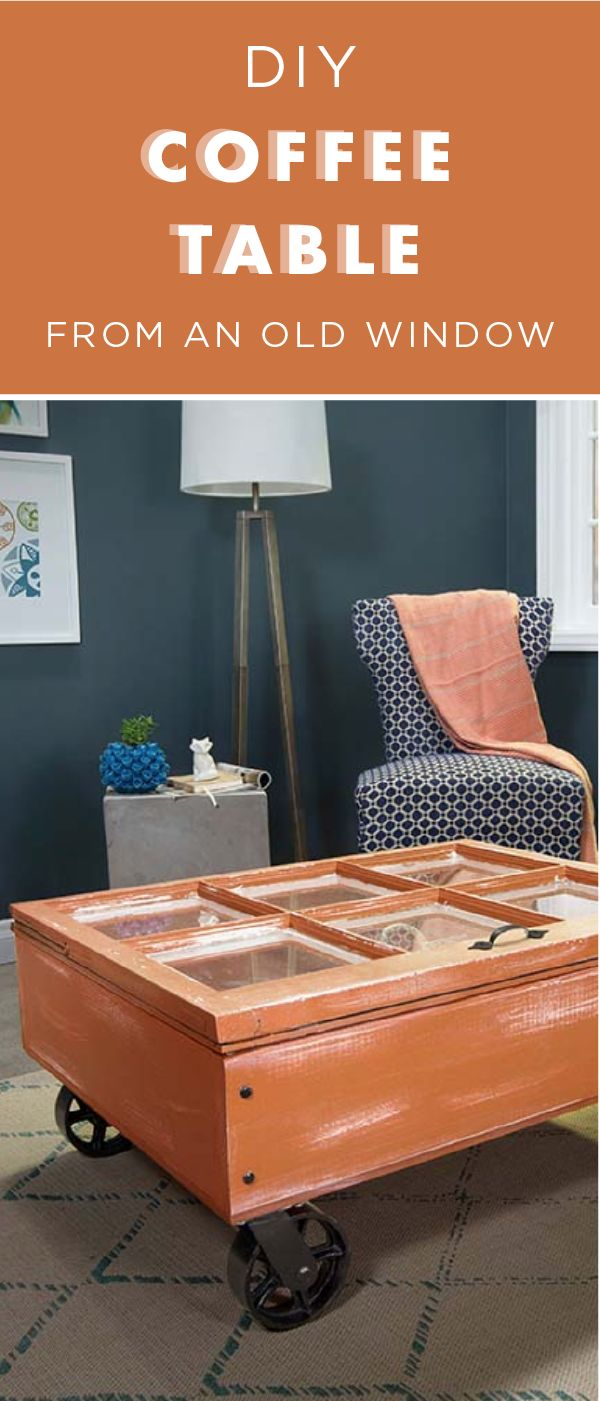 Give your living room a modern look with this DIY window coffee table tutorial from Liberty Hardware. This rustic coffee table offers chic style and tons of storage potential all at the same time. This table is painted a warm shade of Nouveau Copper with dark industrial wheels but you can customize it however you like!