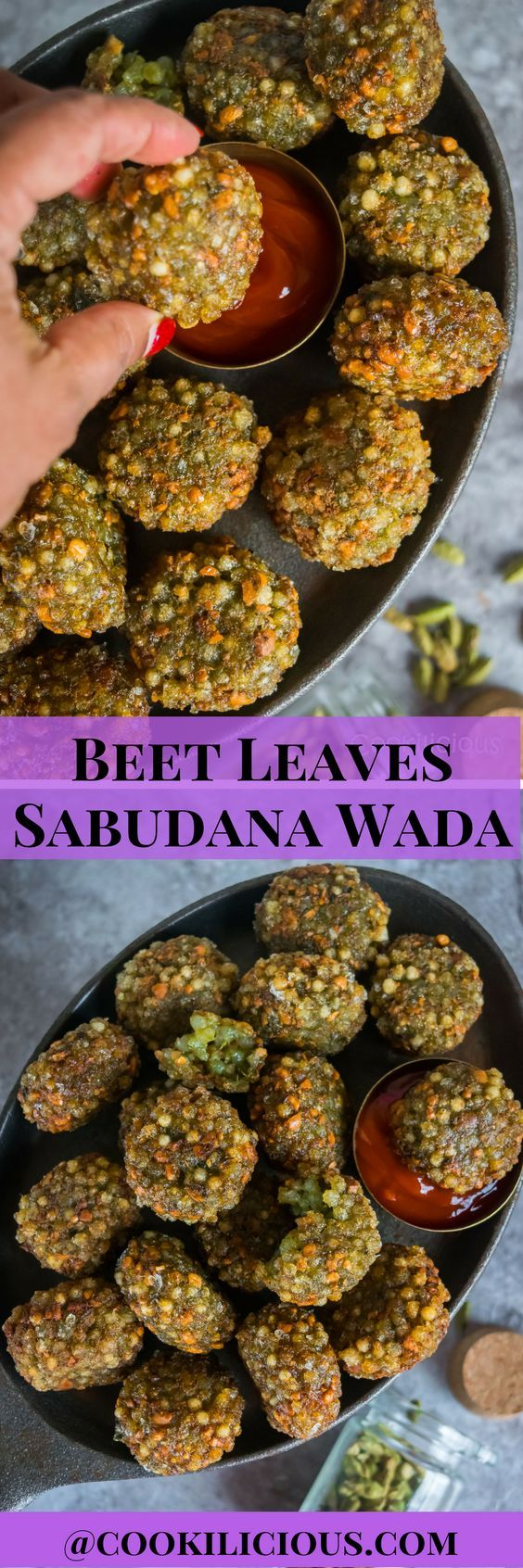 Sabudana Vada (Crispy Sago/tapioca pearl fritters) is a widely popular snack from Maharashtra especially during the fasting times. These deep-fried vadas are crispy on the outside and soft on the inside with a surprise addition of beet leaves. Serve them hot with green chutney/ketchup and enjoy this mouthwatering snack.