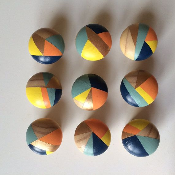 14 x Hand painted colourful door knobs by PaintedWoodenThings