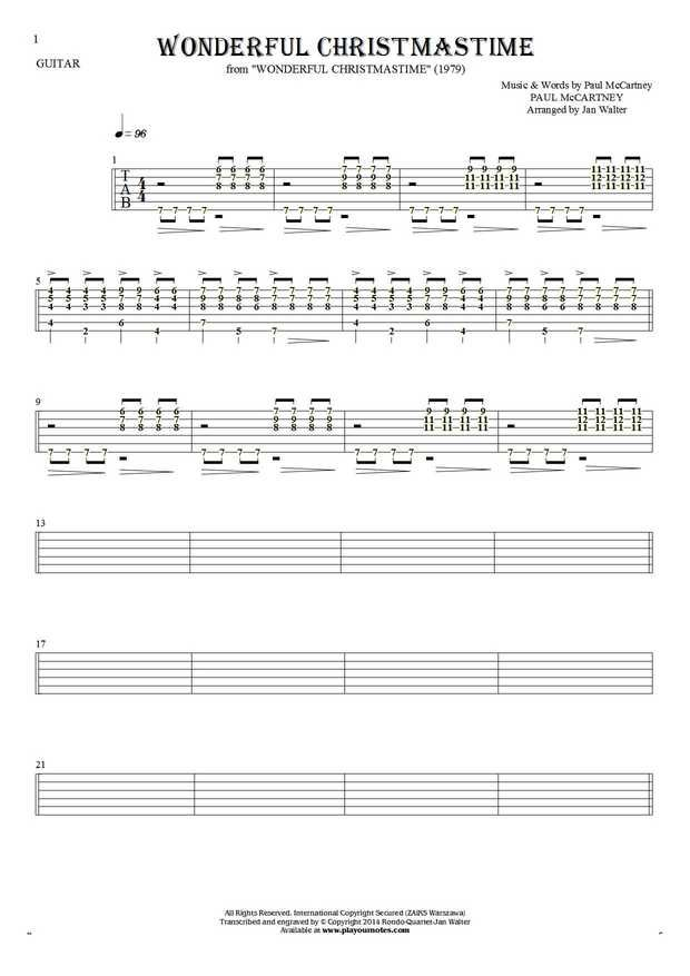 Wonderful Christmastime sheet music by Paul McCartney. From album Wonderful Christmastime (1979). Part: Tablature (rhythm values) for guitar - accompaniment.