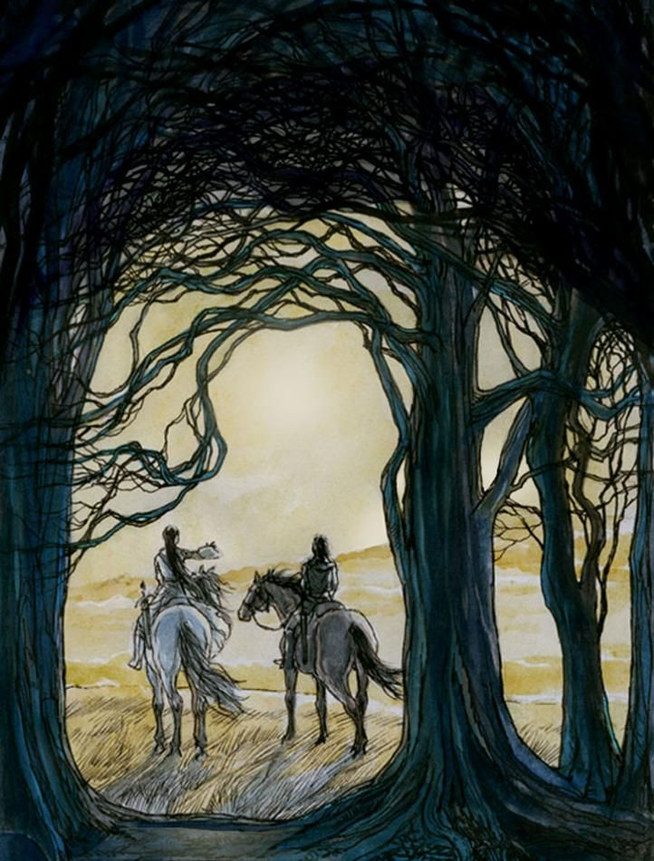 """""""They rode often to the eaves of the wood, seeking the sunlight"""" - Maeglin and Aredhel by Catherine Chmiel"""