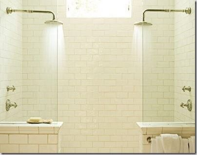 His and Hers shower tiled tastefully with subway/metro/brick tile.