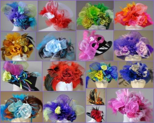 Handgemaakte carnavalshoeden met unieke materialen! Carnavalshoeden / vastelaoveshudjes kant-en-klaar te koop of naar eigen wens op bestelling!De basis van de standaard dameshoeden is een wolvilten 'cloche'.