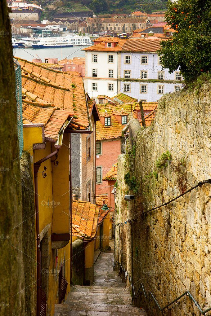 street with stairs, Porto, Portugal by Neirfy on @creativemarket