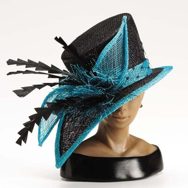 Black/Teal Accent Sinamay Hat