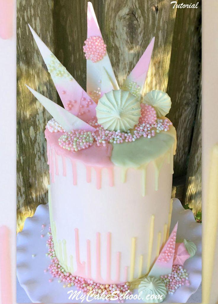 Beautiful Pastel Drip Cake Decorating Tutorial by MyCakeSchool.com! {member video}