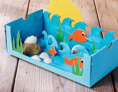 The kids will love creating this shoebox diorama of an ocean scene. Schoenendoos aquarium knutselen