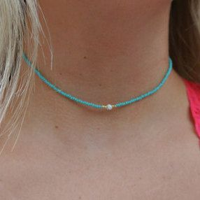 simple dainty blue green gold white pearl turquoise beaded choker necklace