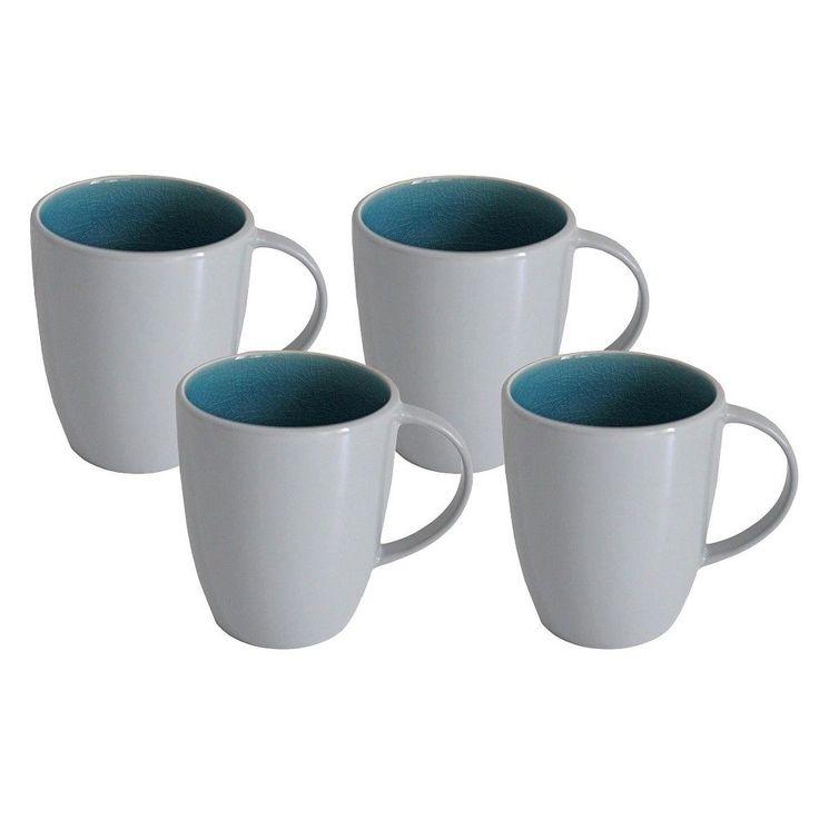Portel Teal Mugs 19oz Stoneware Set of 4 - Threshold
