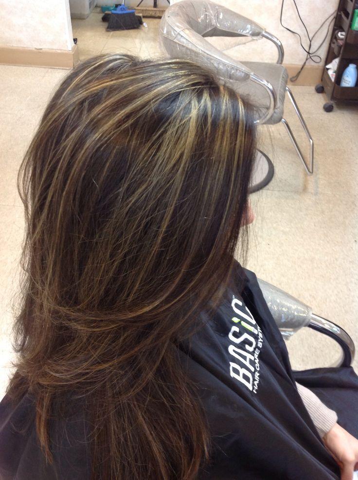 Long Dark Hair With Foils Dark Hair With Highlights