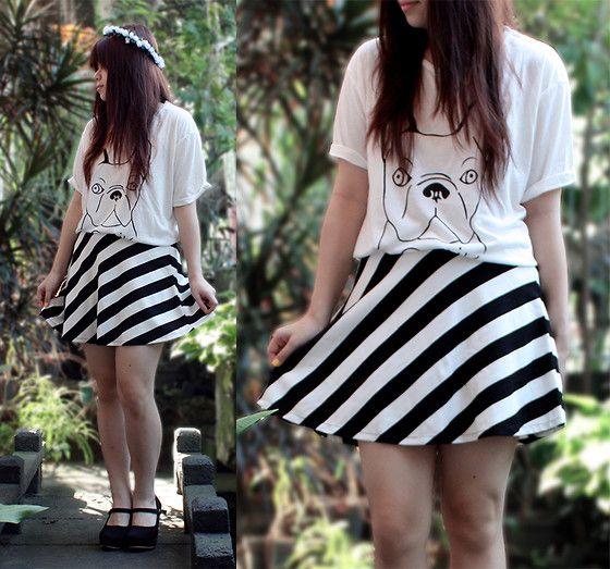 Romwe White T Shirt, Romwe Dual Tone Skirt, Wedges, Flower Crown