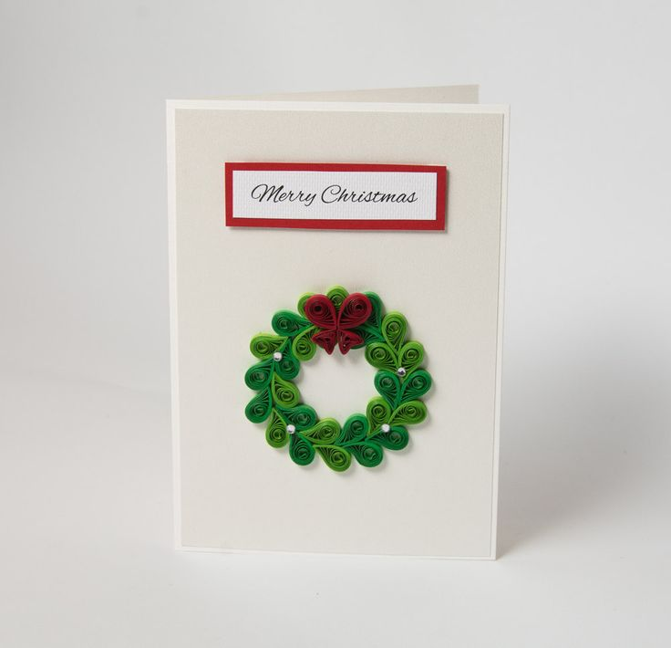 Beautiful Unusual Handmade Christmas Card Unique Handcrafted Xmas Gift Quilling Quilled Christmas Wreath by PaperParadisePL