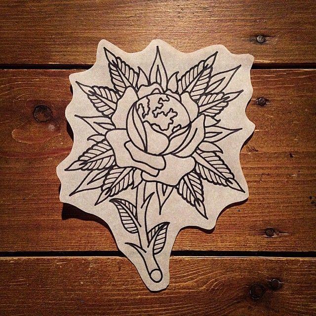 Earth rose  #tattoo #tattooart #tattooflash #traditional #tattoodesign…