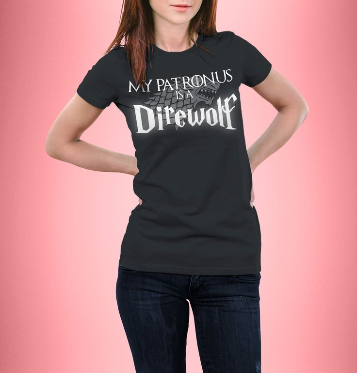 New to CrazyPugPrints on Etsy: Harry Potter - Game Of Thrones - My Patronus is a Direwolf - T-Shirt - Fitted - Women's (5.99 GBP)