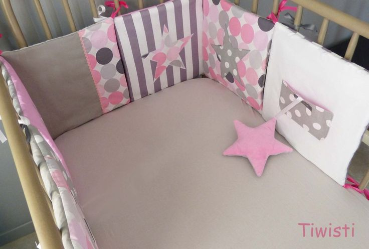 tour de lit coussins et gigoteuse 0 6 mois fille rose gris toile pois rayures tour de lit. Black Bedroom Furniture Sets. Home Design Ideas