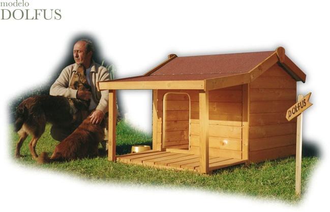 Casita de madera para mascotas modelo DOLFUS. Caseta grande con porche para perros hasta 50 kg // DOLFUS,,,,,, scooby doo size