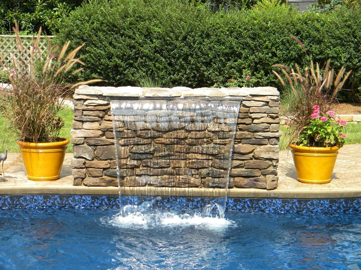 Sheer Descent Waterfall Into Swimming Pool Water Features Pinterest Waterfalls Pools And