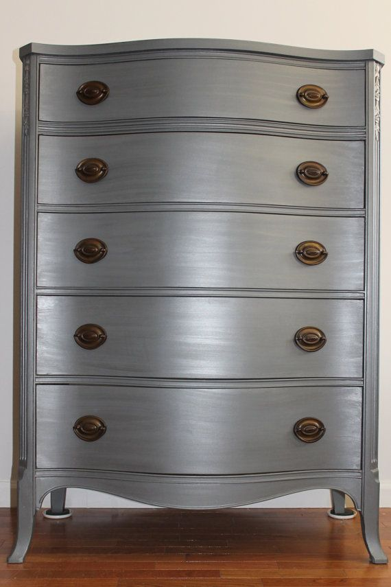 Grey Metallic Dresser/Chest of Drawers/Bureau by SalvageChicStudio, $625.00