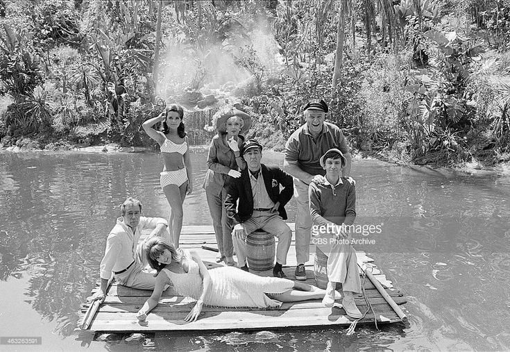 #Sixties | Russell Johnson (as The Professor, Roy Hinkley); Tina Louise (as Ginger Grant); standing: Dawn Wells (as Mary Ann Summers); Natalie Schafer (as Mrs. Lovey Howell); Jim Backus (as Thurston Howell III); Alan Hale, Jr. (as The Skipper, Jonas Grumby) and Bob Denver (as Gilligan), stars of Gilligan's Island, 1966