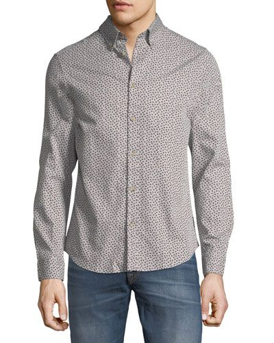 Micro-Twill Floral Button-Front Shirt
