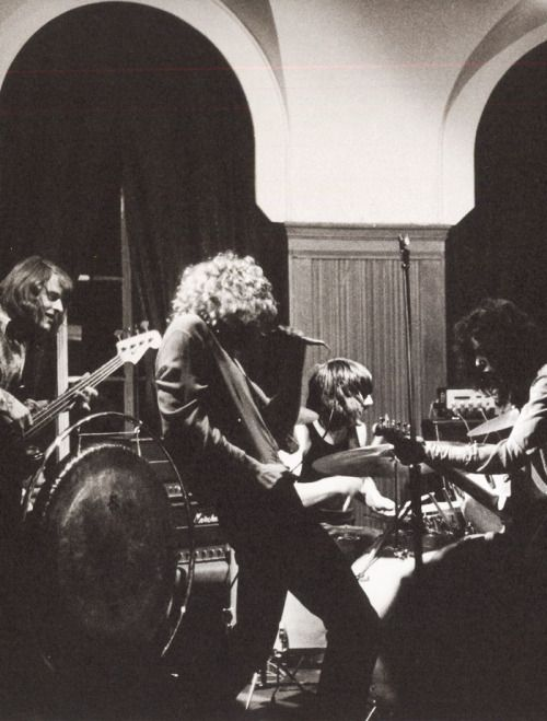 Led Zeppelin performing at the Cherry Tree public house in Welwyn Garden City, U.K., 1969.