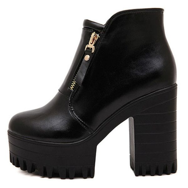 Blackfive Solid Tone Zipped Platform Block Heel Boots (€45) ❤ liked on Polyvore featuring shoes, boots, blackfive, heels, zapatos, platform shoes, black and white shoes, black white shoes, zip boots and zipper shoes