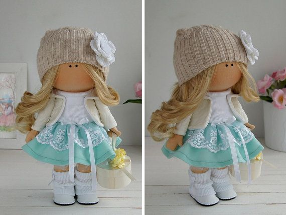 Fabric doll handmade Tilda doll Interior doll Art doll green brown pink colors…