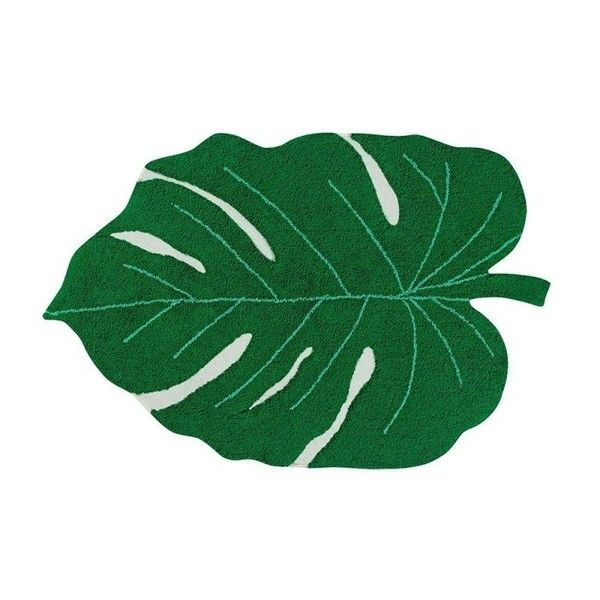 Monstera Leaf Washable Cotton Rug ($200) ❤ liked on Polyvore featuring home, rugs, colored rugs, eco friendly rugs, machine washable rugs, tropical rugs and hand made rugs