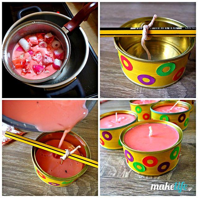 Έχετε παλιά χρησιμοποιημένα κεριά και λαμπάδες από το Πάσχα; Ανακυκλώστε τα φτιάχνοντας καινούρια διακοσμητικά κεριά μέσα σε τενεκεδάκια. Λίγη μονωτική ταινία για την εξωτερική διακόσμηση και λιώσιμο των κεριών σε μπεν μαρί είναι τα βασικά βήματα της κατασκευής.