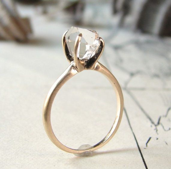 rough herkimer solitaire ring - 14K yellow gold, love the rustic feel