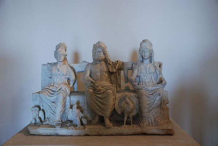Capitoline Triad: (left to right) Minerva (Athena), Jupiter (Zeus), Juno (Hera), Roman statues (marble), 2nd century AD, (Museo archeologico prenestino, Palestrina).