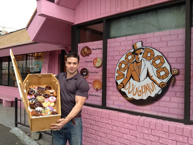 novelty coffin full (36) of donuts...a roadtrip must one day.