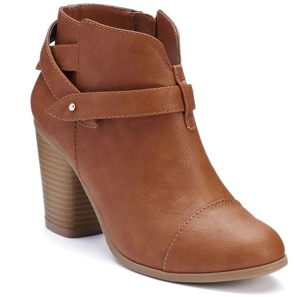 LC Lauren Conrad Women's Slit Ankle Boots ($40) ❤ liked on Polyvore featuring shoes, boots, ankle booties, brown, brown boots, bootie boots, stacked heel bootie, brown ankle boots and brown booties