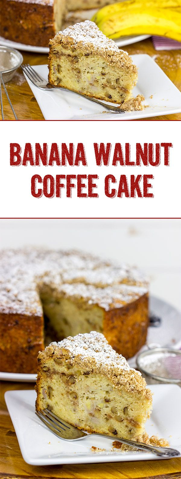 """My wife called this Banana Walnut Coffee Cake """"something that would make a bakery in the South famous."""" Bake this one up and let me know what you think!  :-)"""