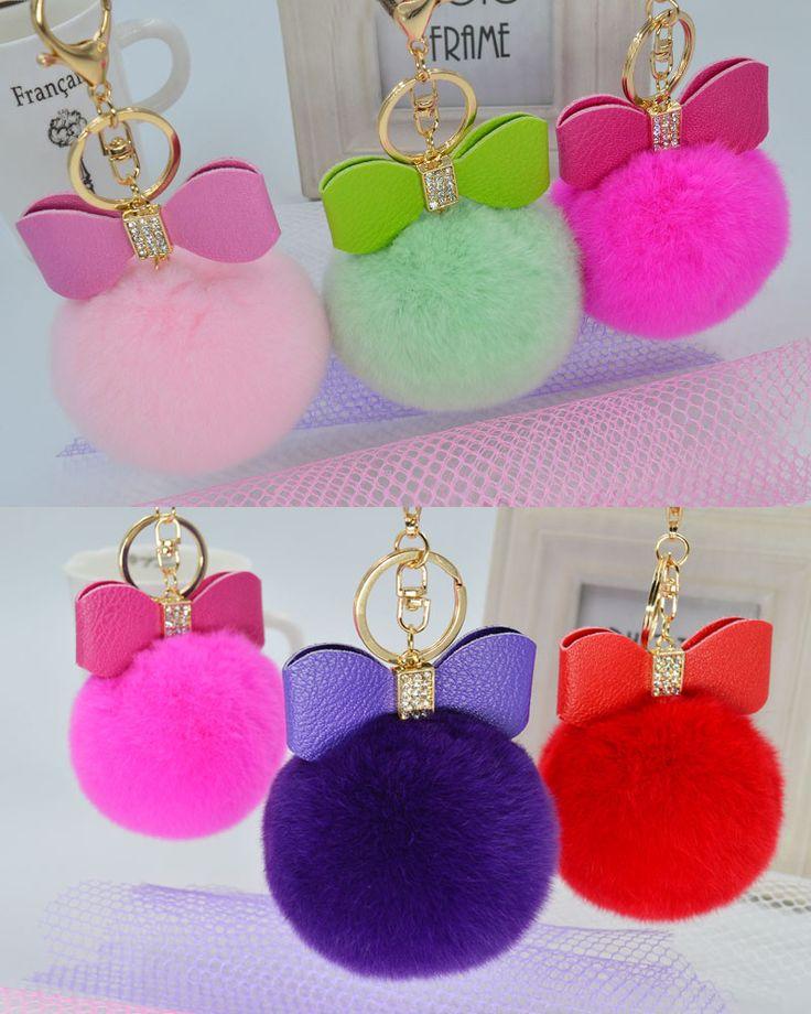 8cm fur ball Hot Sale Bow Real rabbit  Fur Ball Keychain Rabbit Fur Pom Pom Plush Key Chain Keyring Men Women Pompom Keychain