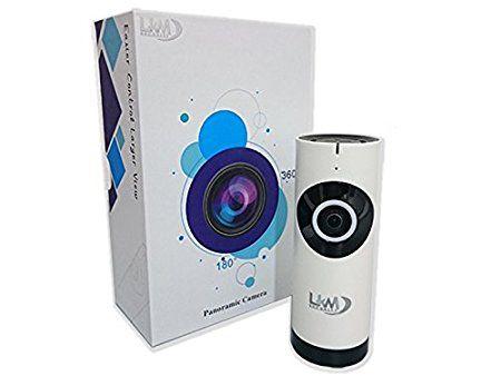 LKM Security® Caméra IP sans fil avec optique fish-eye 180° en HD 1Mpx fonction P2P