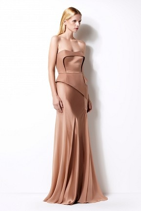 Beige strapless silk gown with corseted bodice- Izmaylova