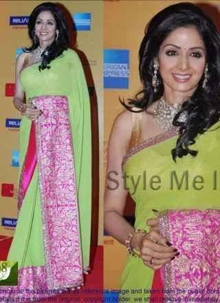 Shridevi Green And Pink Embroidery Work Bollywood Saree http://www.angelnx.com/