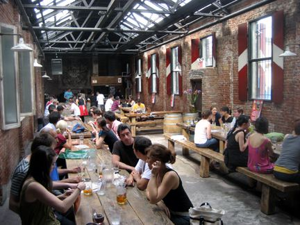 Radegast Biergarten is a great weekend place! Fun with a great selection of beers! Berry St and N 3rd St in Williamsburg, Brooklyn.