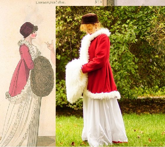 Regency overcoat 1801.  Model for Fashion plays 2016 from 1801. Walking dress - The Fashions of London & Paris, London 1801-1810(?), No. 36.  The red overcoat, woolen coat/jacket trimmed with fur.  Velvet hat and fur muff (fake! fur).
