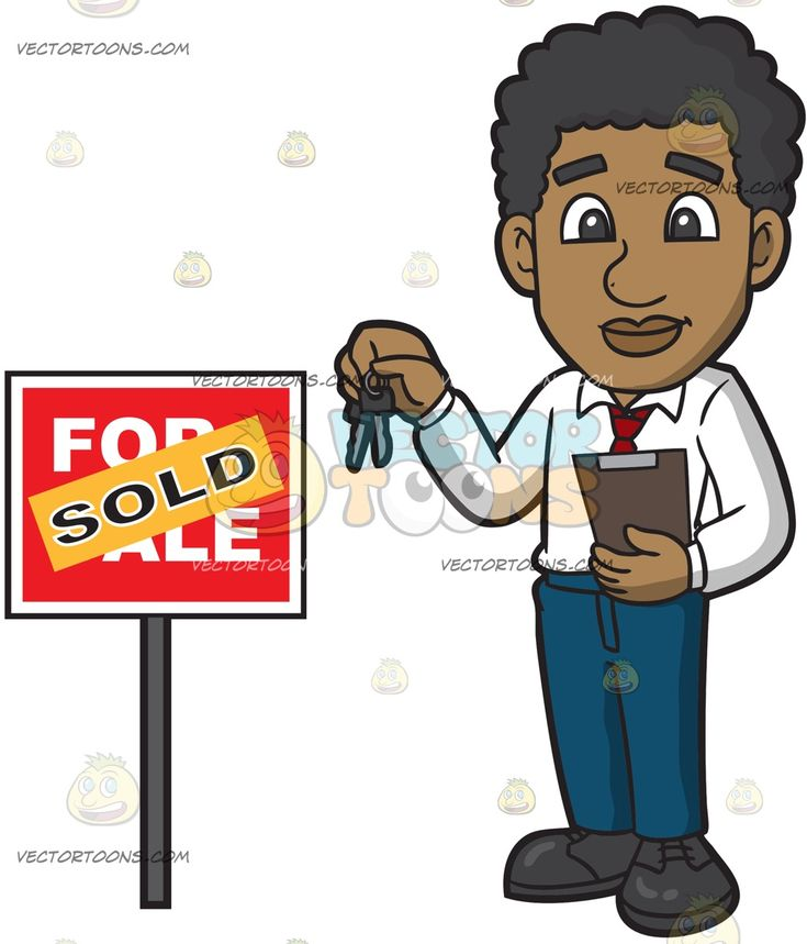 A Real Estate Agent Completes A Purchase Transaction Of A House:   A black man with curly hair wearing a white dress shirt red necktie dark teal pants black shoes smiles while holding a brown clipboard in his left hand and two keys in his right hands as he stands beside a red for sale sign that has an orange sold sticker plastered on it