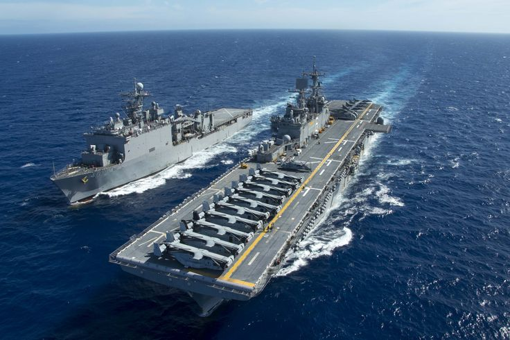 EAST CHINA SEA (June 5, 2015) The amphibious assault ship USS Bonhomme Richard (LHD 6) and dock landing ship USS Ashland (LSD 48) maneuver to conduct a replenishment at sea.