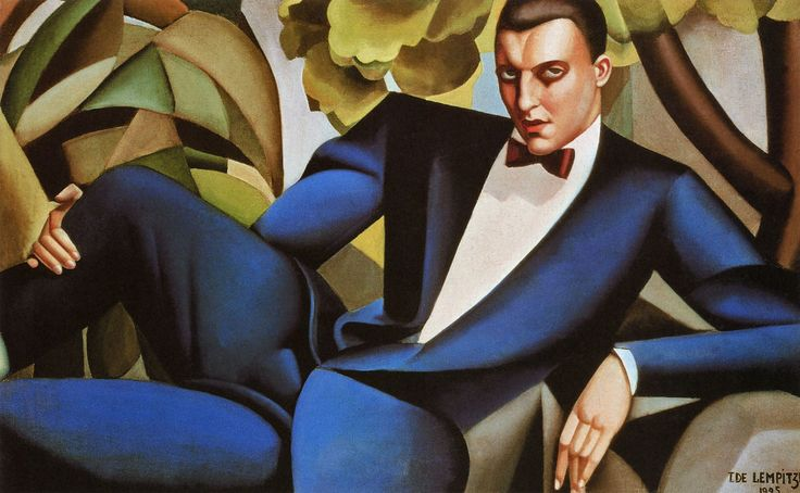 Painting by Polish Art Deco painter Tamara De Lempicka (1898-1980) exuding the glamorized style she was so famous for.